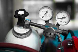 compressed gas cylinder safety - close up gas gauges