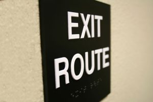 emergency planning - exit route sign