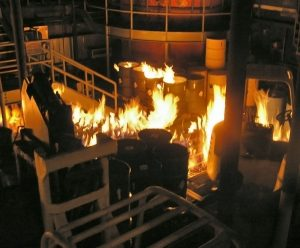 industrial fire prevention - fire in a warehouse